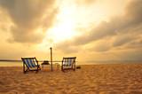 Beach on Tropical Islands at Sunrise