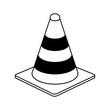 traffic cone under construction related icon image vector illustration design  black line