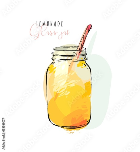 Hand drawn vector abstract artistic cooking illustration of tropical lemonade shake drink in glass jar isolated on white background.Diet detox concept. - 158569077