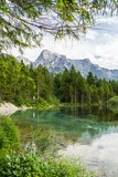 Alps mountains and lake in Almsee in Austria.