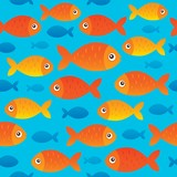 Seamless background stylized fishes 2