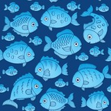 Seamless background with fish drawings 2