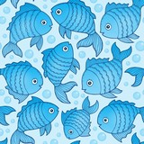 Seamless background with fish drawings 3