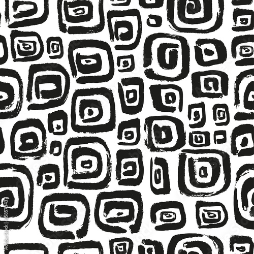 Seamless pattern with abstract square elements. Hand drawn artistic simply objects.