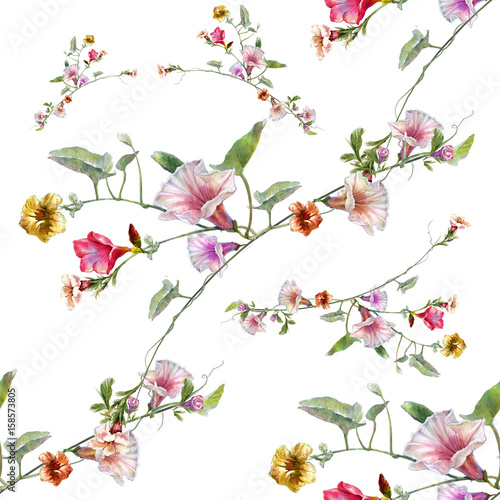 Watercolor painting of leaf and flowers, seamless pattern on white background - 158573805