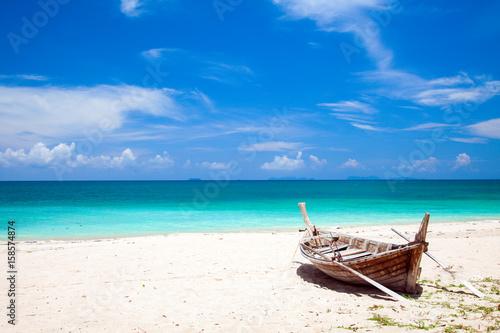 Poster beach and fishing boat, koh Lanta, Thailand