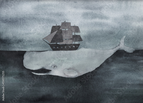 Watercolor whale with ship  in the ocean. Vintage surreal illustration. Hand drawn image - 158575255