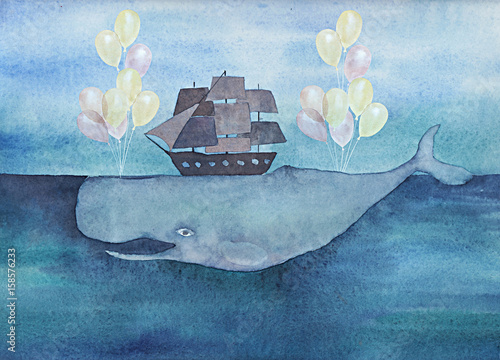 Watercolor whale with ship and air balloons in the ocean. Vintage surreal illustration - 158576233