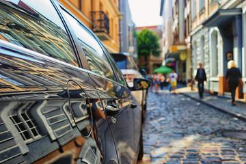 Reflection in the car facades
