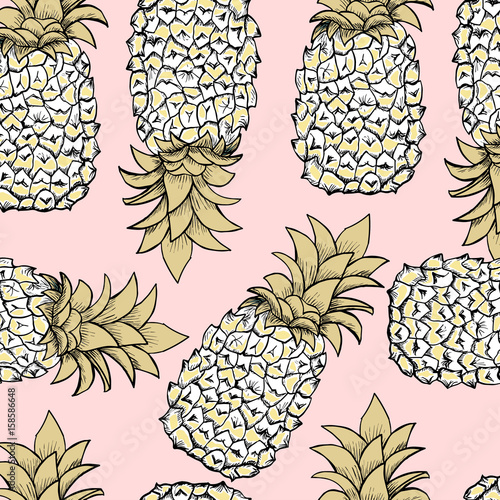 Seamless pattern with big golden pineapples on pink background. Vector illustration. - 158586648