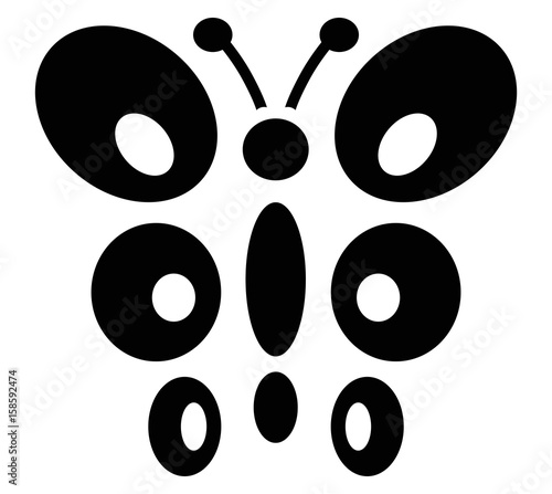 butterfly black icon vector