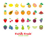 Fresh fruit color icon collection