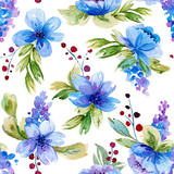 Seamless pattern with watercolor leaves and blue flowers. - 158597897