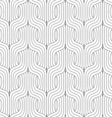 Vector seamless pattern. Modern stylish texture. Monochrome geometric pattern with wavy lines.