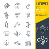 Fototapety Lineo Editable Stroke - Gardening and Seeding line icons Vector Icons - Adjust stroke weight - Expand to any size - Change to any colour
