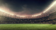 soccer stadium with green grass, illumination lights and dramatic night sky