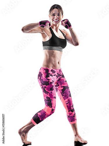 Póster one caucasian woman exercising fitness cardio boxing pilates excercises in studi