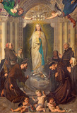TURIN, ITALY - MARCH 13, 2017: The Painting of Immaculate Conception of Virgin Mary among the saints (St. Bernardin, Bonaventure, Agnes, Lucy) by Enrico Reffo (1831 - 1917). - 158611464