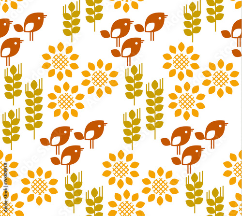 Vector seamless pattern with sunflower floral, birds and wheat, ears, grains. Natural concept modern repeatable motif for surface design.