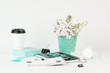 Feminine styled office desktop with teal accents