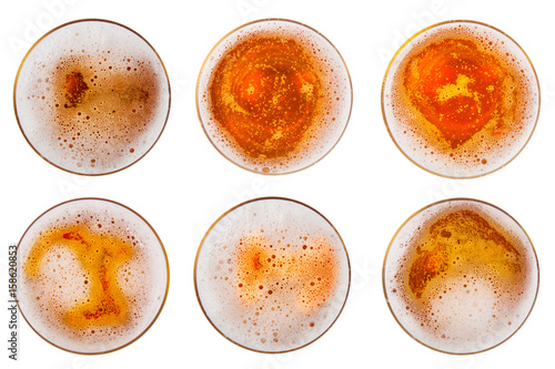 Beer in glass. Beer foam. View from above. Poster