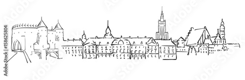 Warsaw, Poland, Panorama Sketch