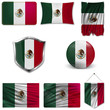 Set of the national flag of Mexico in different designs on a white background. Realistic vector illustration.