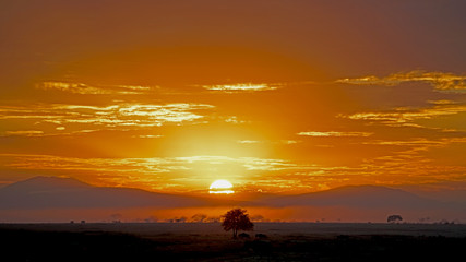 Sun rising through rain clouds in Serengeti, Tanzania