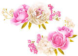 Pink white watercolor flower bouquet for wedding decoration - 158636009