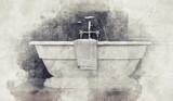 Paint effect sketch of a modern bathtub