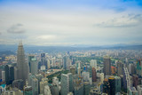 Beautiful view of Kuala Lumpur from Menara Kuala Lumpur Tower, a commmunication tower and the highest viewpoint in the city that is open to the public