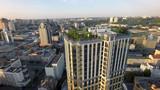 Summer morning in Kiev, roof garden, aerial view
