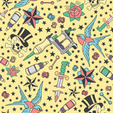 Fototapety Seamless pattern with traditional tattoo designs, tattoo equipment and piercings