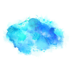 Cyan and blue watercolor stains. Bright element for abstract artistic background.