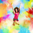 Fitness teacher jumps on summer colors - 158666036