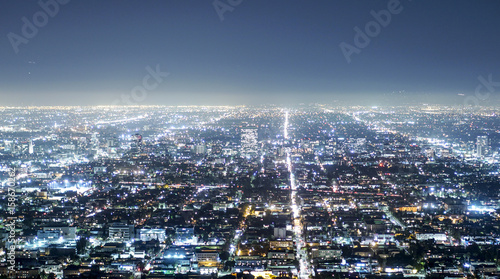 Aerial view over the city of Los Angeles by night - view from Griffith Observatory - LOS ANGELES - CALIFORNIA - APRIL 20, 2017