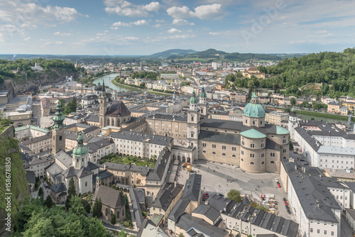 Beautiful old City from aerial view - Salzburg, Austria