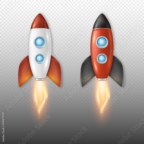 Fototapeta Realistic vector retro space rocket ship launch icon set isolate on transparent background. Template for project start up and development process, creative idea etc.