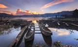 Traditional boats at Lake Tamblingan in Bali, Indonesia in the morning