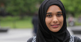 Young muslim woman wearing hijab face portrait smile - 158685434