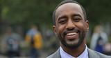 Black business man in city park face portrait smile - 158685491