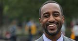 Black business man in city park face portrait smile - 158685492