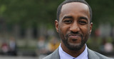 Black business man in city park face portrait smile - 158685495
