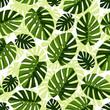 Cotton fabric Seamless pattern monstera.