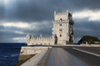 Belem Tower against a dramatic sky, Portugal