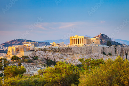 Fotobehang Athene View on Acropolis at sunset, Athens, Greece