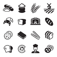 Bakery bread icon set