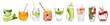 Leinwanddruck Bild - Different drinks in glasses on white background. Ideas for summer cocktails