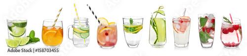 Leinwanddruck Bild Different drinks in glasses on white background. Ideas for summer cocktails
