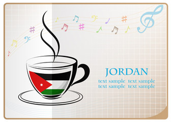 coffee logo made from the flag of Jordan